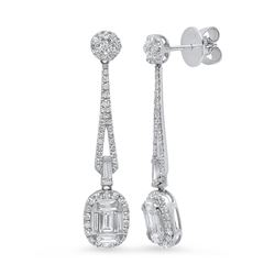 14K White Gold 1.70CTW Diamond Earrings, (SI1/G-H)