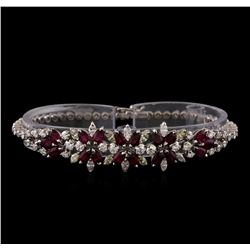 3.96 ctw Ruby and Diamond Bracelet - 18KT White Gold