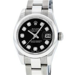 Rolex Ladies Stainless Steel Black Diamond Quickset Datejust Wristwatch With Rol