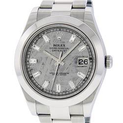 Rolex Mens SS 41MM Meteorite Baguette Diamond Datejust 2 Oyster Band Wristwatch