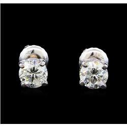 1.13 ctw Diamond Stud Earrings - 14KT White Gold