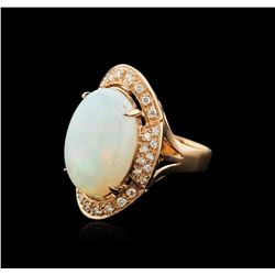 14KT Rose Gold 11.59 ctw Opal and Diamond Ring