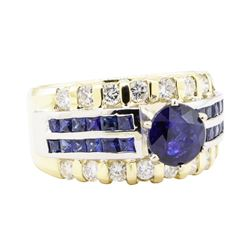 3.32 ctw Sapphire And Diamond Ring - 14KT Yellow And White Gold