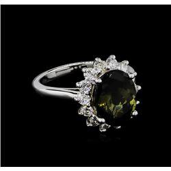 4.18 ctw Tourmaline and Diamond Ring - 14KT White Gold
