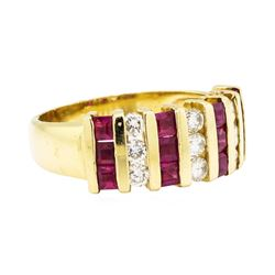 1.00 ctw Ruby and Diamond Ring - 14KT Yellow Gold