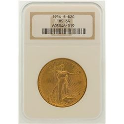 1914-S $20 St. Gaudens Double Eagle Gold Coin NGC MS64