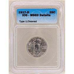 1917-D Standing Liberty Quarter Coin ICG MS60 Details