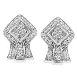 14k White Gold 0.50CTW Diamond Earrings, (SI3/G-H)