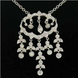 14k Solid White Gold 1.50 ctw Round Brilliant Diamond Tassel Chandelier Necklace