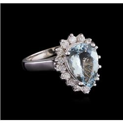 2.52 ctw Aquamarine and Diamond Ring - 14KT White Gold