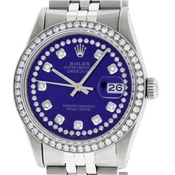 Rolex Mens Stainless Steel Puple String Diamond 36MM Datejust Wristwatch
