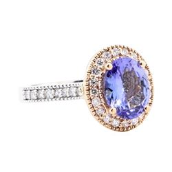 2.69 ctw Sapphire And Diamond Ring - 14KT White And Rose Gold