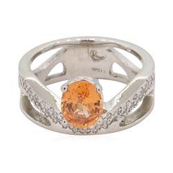 1.4 ctw Diamond And Orange Sapphire Ring - Platinum