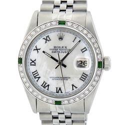 Rolex Mens Stainless Steel Silver MOP Roman 36MM Diamond & Emerald Datejust Wris