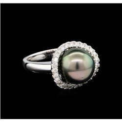 1.46 ctw Pearl and Diamond Ring - 14KT White Gold