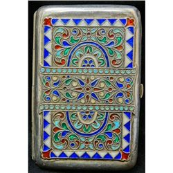 1846-1920 Karl Faberge 84 Silver & Enamel Cigarette Case - Comes With Letter Of Guarantee - MUST SEE