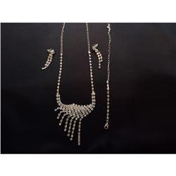 Czech Crystal Rhinestone Bridal Necklace Set