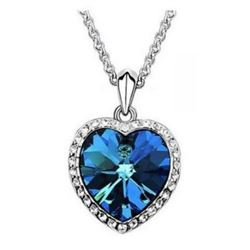 """Austrian Crystal with Swarovski Elements - Beautiful blue """"Heart of the Ocean"""" necklace."""
