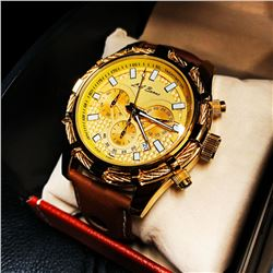 Mens L.A Banus Formal Gold Dial Chronograph Genuine Leather Band Watch