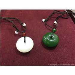 Pair Of White & Green Jade Carved Pendants