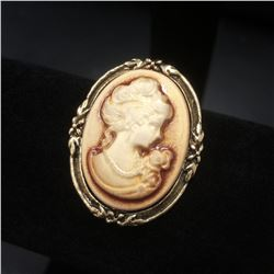 Vintage White Cameo Brooch With Silhouette Of A Beauty