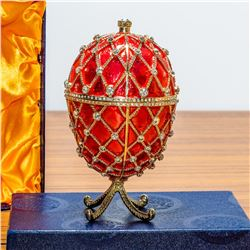 """7"""" Royal Trellis with Crystals on Red Enamel Royal Inspired Russian Egg"""