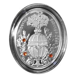 """2012 Poland Mint """"Bouquet of Lilies"""" Imperial Faberge Egg - Proof Silver Coin w/ Swarovski Crystals"""