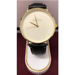 New Geneva Mens Watch With Stitched Leather Band