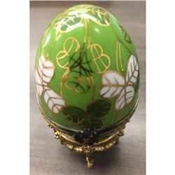 Small Clover Faberge Egg # 443 with Surprise Cat