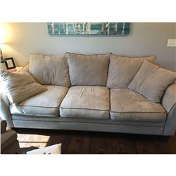 """Large suede couch 8'L x 3'9""""W x 2'4""""H"""