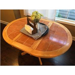 """Tile top breakfast table with center leaf 2' 6.5""""H x 3' 6W x 4'9""""L w/Leaf. Leaf is 1'3""""."""