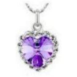 Austrian Crystal with Swarovski Elements - Violet heart necklace