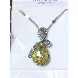 Austrian Crystal with Swarovski Elements - Tear drop shaped gem w/ribbon of clear gems above-Yellow