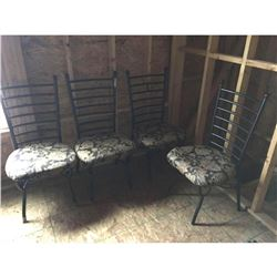 Set of four dining room metal ladder chairs