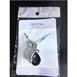 Austrian Crystal with Swarovski Elements - Tear drop shaped gem w/ribbon of clear gems above-Purple