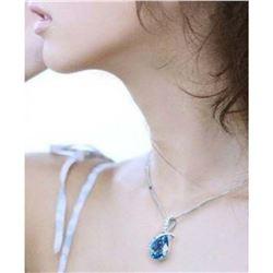Austrian Crystal with Swarovski Elements - Tear drop shaped gem w/ribbon of clear gems above-Sapphir