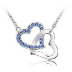 Austrian Crystal with Swarovski Elements - Interlocking hearts-Blue