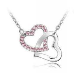 Austrian Crystal with Swarovski Elements - Interlocking hearts-Pink