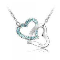 Austrian Crystal with Swarovski Elements - Interlocking hearts-Sapphire