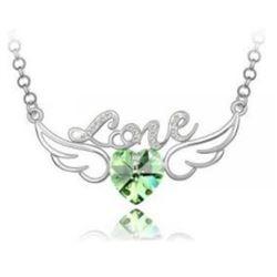 Austrian Crystal with Swarovski Elements - Angel wings & Love/Heart-Green