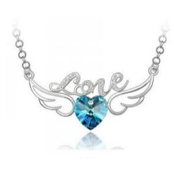 Austrian Crystal with Swarovski Elements - Angel wings & Love/Heart-Blue