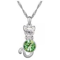 Austrian Crystal with Swarovski Elements - Kitten-Green