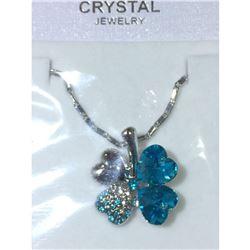 Austrian Crystal with Swarovski Elements - Clover hearts-Bright blue