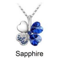 Austrian Crystal with Swarovski Elements - Clover hearts-Sapphire
