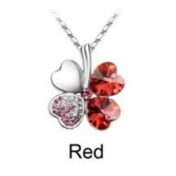 Austrian Crystal with Swarovski Elements - Clover hearts-Red