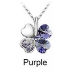 Austrian Crystal with Swarovski Elements - Clover hearts-Purple