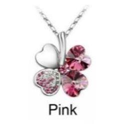 Austrian Crystal with Swarovski Elements - Clover hearts-Pink