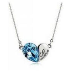 Austrian Crystal with Swarovski Elements - Heart w/ Love engraved-Blue