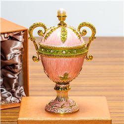"5.5"" Pink Amphora Enameled Royal Inspired Russian Egg Figurine"