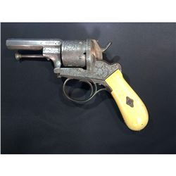 French Lefaucheux Engraved 12mm Pinfire Revolver, Like Model 1858 - Antique